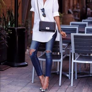 Nice White Tunic Top With Roll Up Sleeves